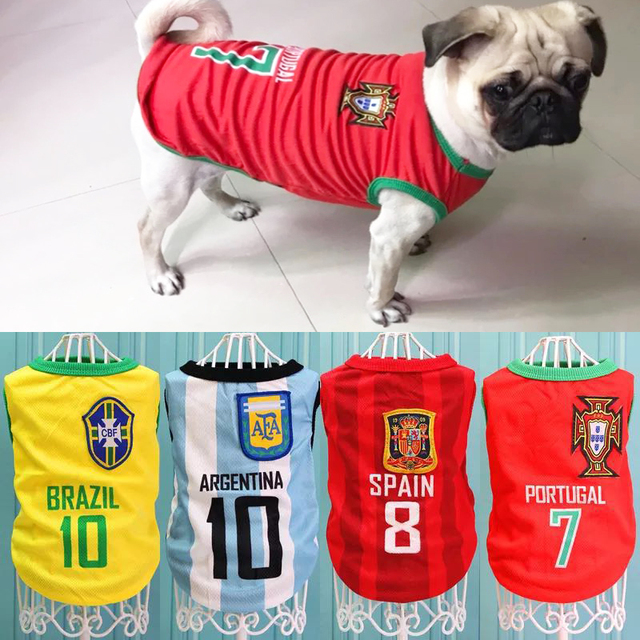 1a2f8d8dc817 Sport Dog Clothes Cotton Pet T Shirt Clothing For Pug French Bulldog Summer  Big Dogs Shirts Vest Football Jersey Outfits XS-6XL