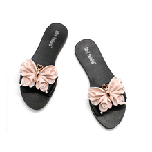 New Women Slippers PU Bow Summer Beach Shoes Female No Fur Slippers Flat Casual Solid Flip Flops Sandals Outdoor Sweet Slippers