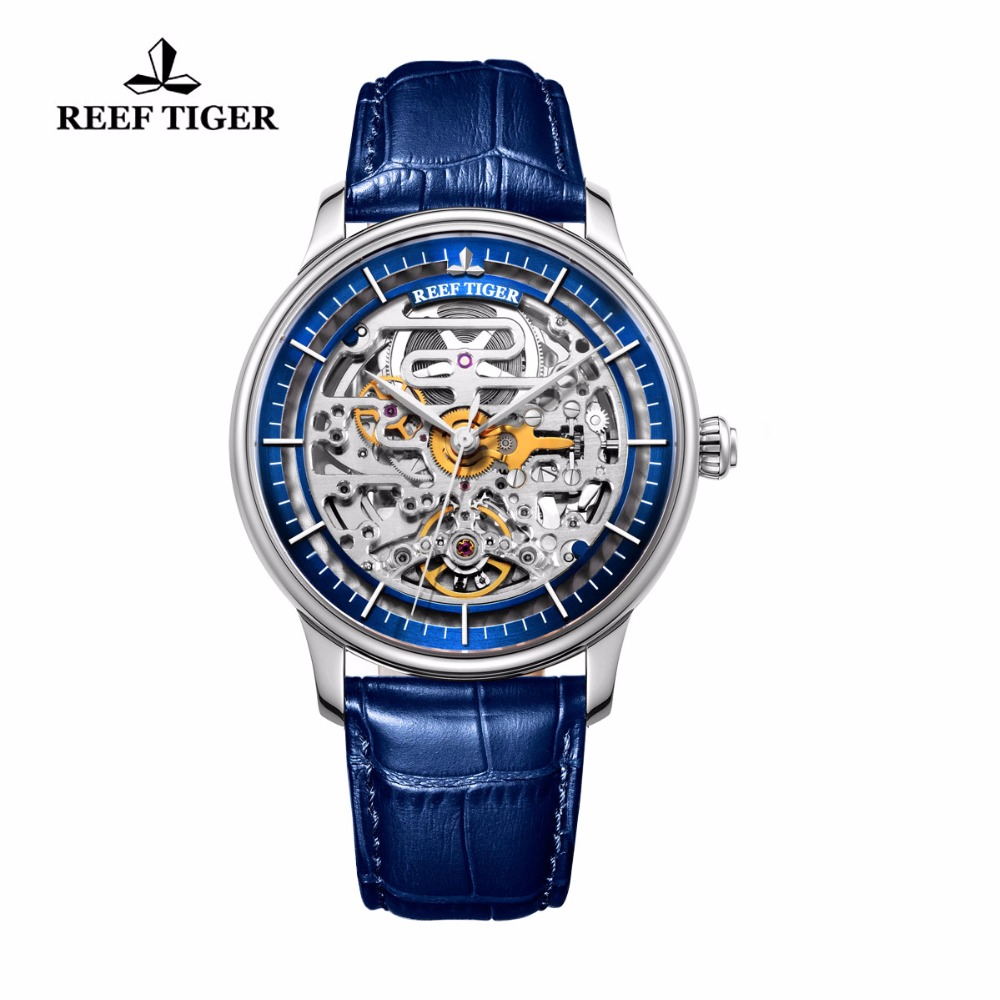 Reef Tiger/RT Mens Designer Automatic Watch Steel Case Yellow Gold Skeleton Dial Watch Blue Leather Strap RGA1975 rolex datejust blue dial automatic stainless steel and 18k yellow gold mens watch 116233blsj