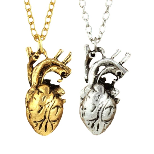 Vintage Anatomy Body Heart Necklace Antique Heart Charm Necklaces ...