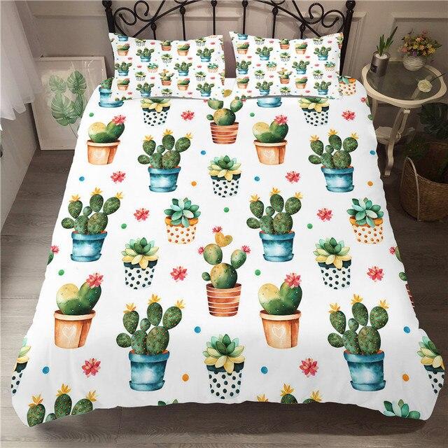 Комплект постельного белья с 3D принтом, пододеяльник, комплект постельного белья, домашний текстиль с изображением кактуса и растений для взрослых, постельное белье с наволочкой # XRZ06