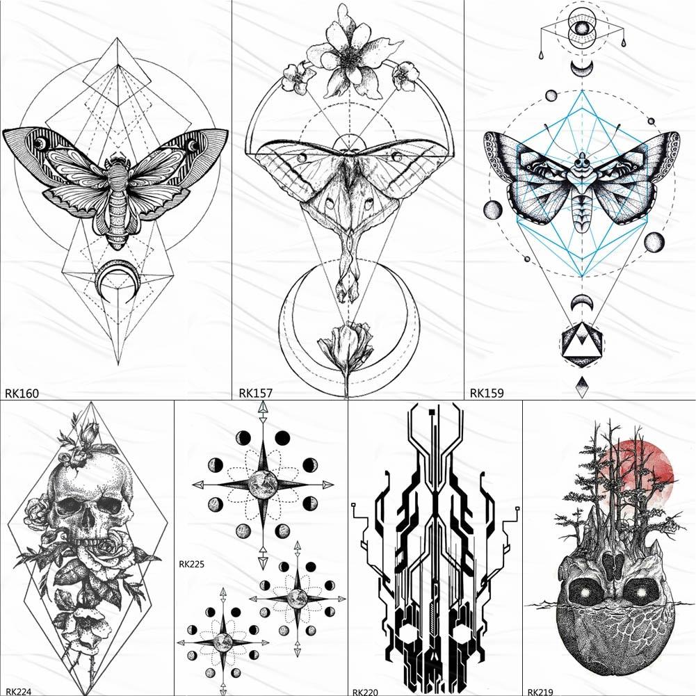 OMMGO Geometry Butterfly Moth Black Henna Tattoos Temporary Sticker Skull Totem Fake Tattoo For Women Body Art Arm Custom Tatoos