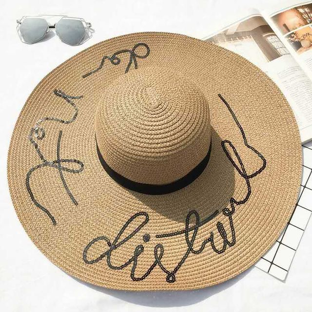 2018 new summer Big wide brim straw hat Do not disturb letter sequin embroidery beach hat girls sun hats for women free shipping 4