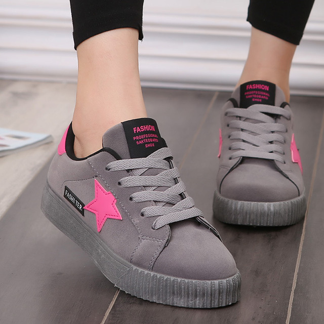 LAKESHI Fashion Star Women Shoes Women Casual Shoes Lace Up Women Flat Shoes Pink 2018 New Women Sneakers Round Toe Female Shoes