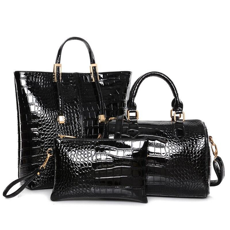 3Pcs Luxury Alligator Crocodile Women Leather Handbag Set Famous Brand Women  Shoulder Bags Ladies Handbags Purse Clutch Bag Gold-in Shoulder Bags from  ... 8ad7c20e65