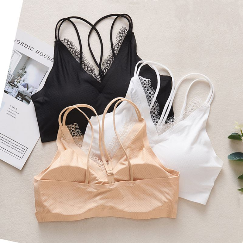 Casual Seamless Tube Top Padded Bra Women 39 s Flower Lace Bra Female Summer Tube Top in Bras from Underwear amp Sleepwears