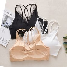 Casual Seamless Tube Top Padded Bra Womens Flower Lace Female Summer