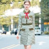 Svoryxiu Fashion Designer Dress Women's Long Sleeve Chic BowGeometric Printed Party Dresses 2018 Autumn Winter Elegant Clothes