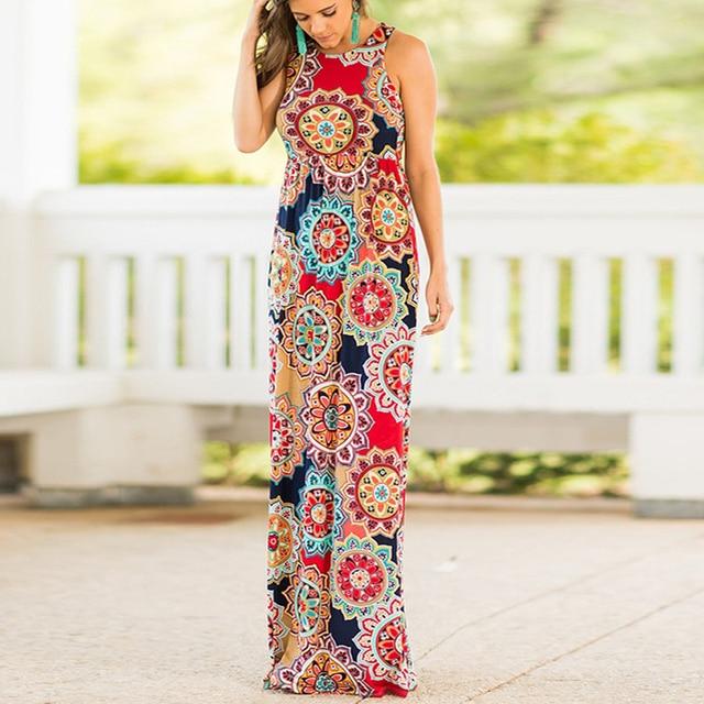 cab7fec31a4 Fanbety 2019 Sexy Sleeveless Beach Summer Dress Boho Style Long Dress Women  Floral Print Pockets Vintage Maxi Dresses Vestidos