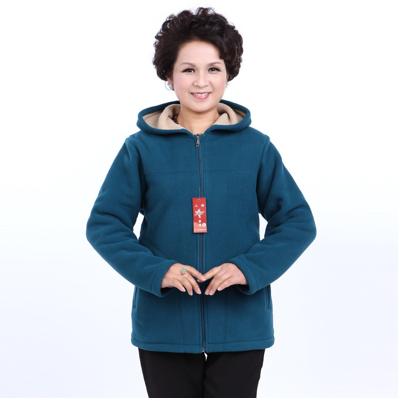 Winter Middle Aged Womens Hooded Imitation Lambs Fleece Jackets Ladies Warm Soft Velevt Coats Mother Overcoats Plus Size (4)