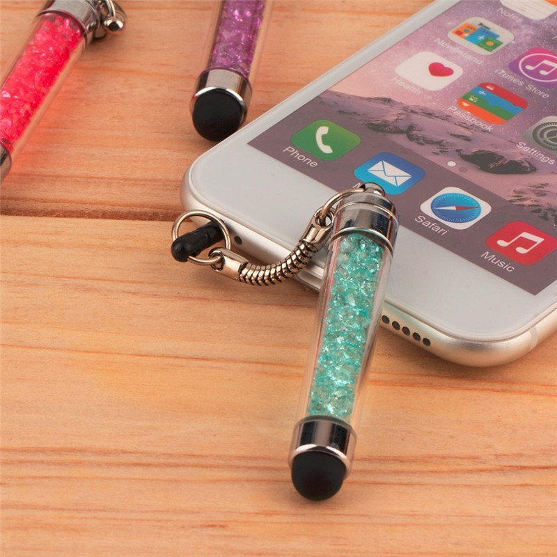 Diamond Crystal Stylus Touch Screen Pen Stylus 3.5mm Dust Plug Cap 2 in 1 For iPhone Tablet Android Samrt Phones Styluses Pen