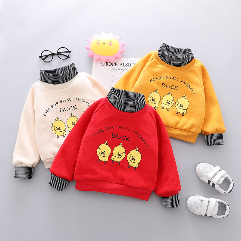 Winter Boys Sweatshirts Children Thick Warm Cartoon Outwear for Baby Girls Boys Velvet Hoodies Tops Outfits Clothing