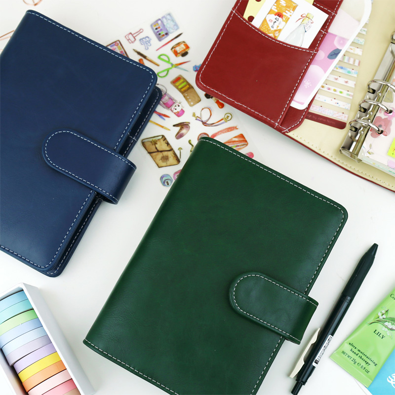 Harphia A5 A6 Classical Planner Vintage Refillable Spiral  Notebook Loose Leaf journal Contrast Color dokibook filofax agenda a5 a6 vintage loose leaf refillable wool felt spiral weekly planner notebook filofax memo travel journal diary notepad