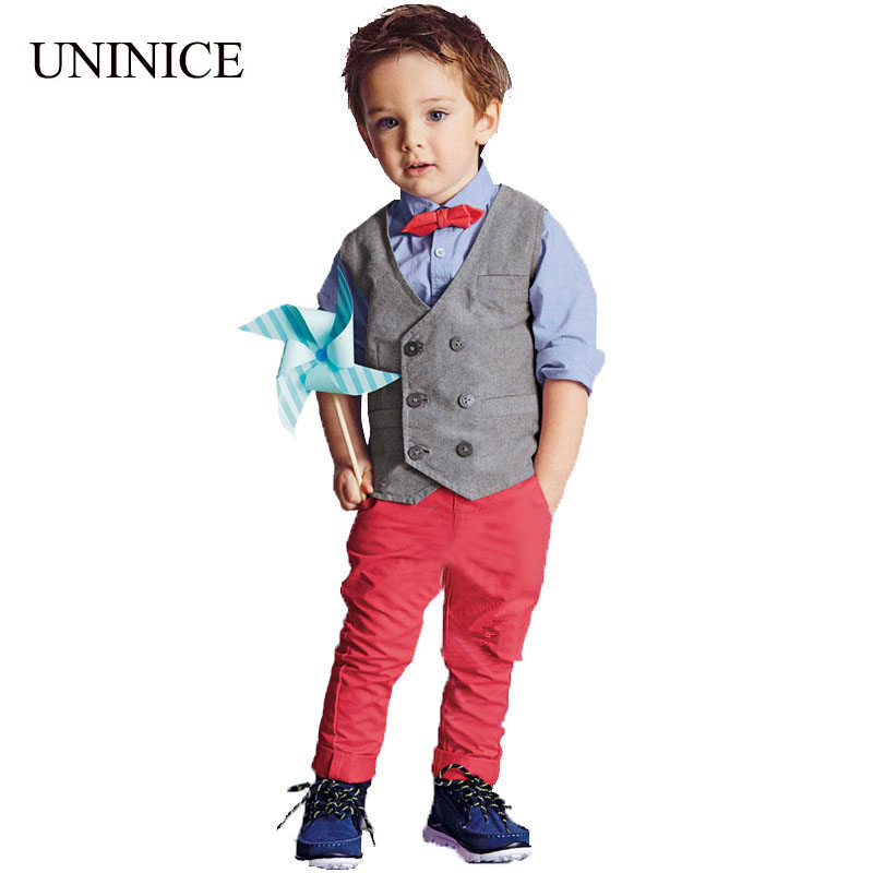 2015 fashion baby boys clothes set cartoon bow tie shirt + red long pant +vest clothes suit boys 3pcs clothing set kids clothes