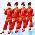 Clásica china de Baile Vestido para Niña Trajes de Danza Yangko Nacional Chino Tradicional Traje Ropa del Funcionamiento de Los Niños