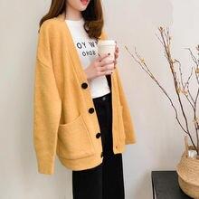 Moda bayan kazak sonbahar 2020 artı boyutu rahat düz renk hırka kadın kazak moda zarif cep giyim