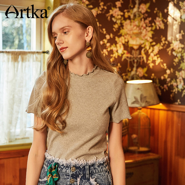 3838aedd92 ARTKA Summer 2018 New Women Cotton Solid Gray Wave Edge Simple Butterfly  Sleeve O-neck