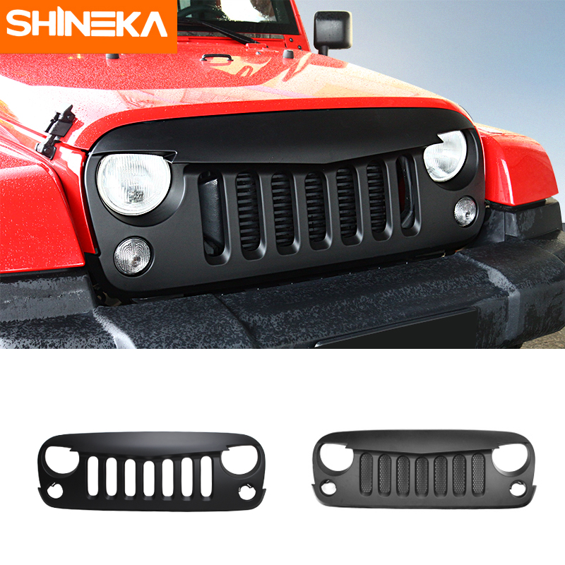 SHINEKA 4x4 Offroad ABS Front Grille Cover Bird Grill with Mesh Insect Flat Proof for Jeep Wrangler JK 07-16 10th front bumper grill abs material middle grille racing grills type r grill mesh case for honda civici 2016 2017