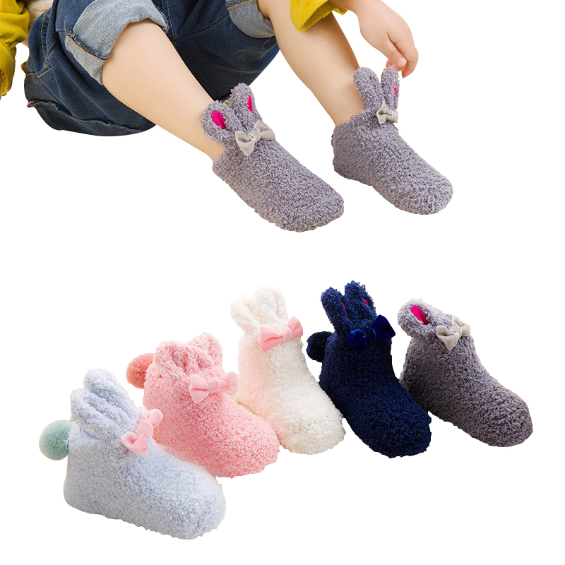 Autumn Winter Terry Baby Socks Thick Coral Fleece Bow Children's Socks Newborn Infant Toddler Boys Girls Socks For Baby Bunnies