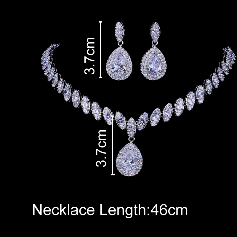 Emmaya Simulated Bridal Jewelry Sets Silver Color Necklace Sets 4 Colors Wedding Jewelry Parure Bijoux Femme 2