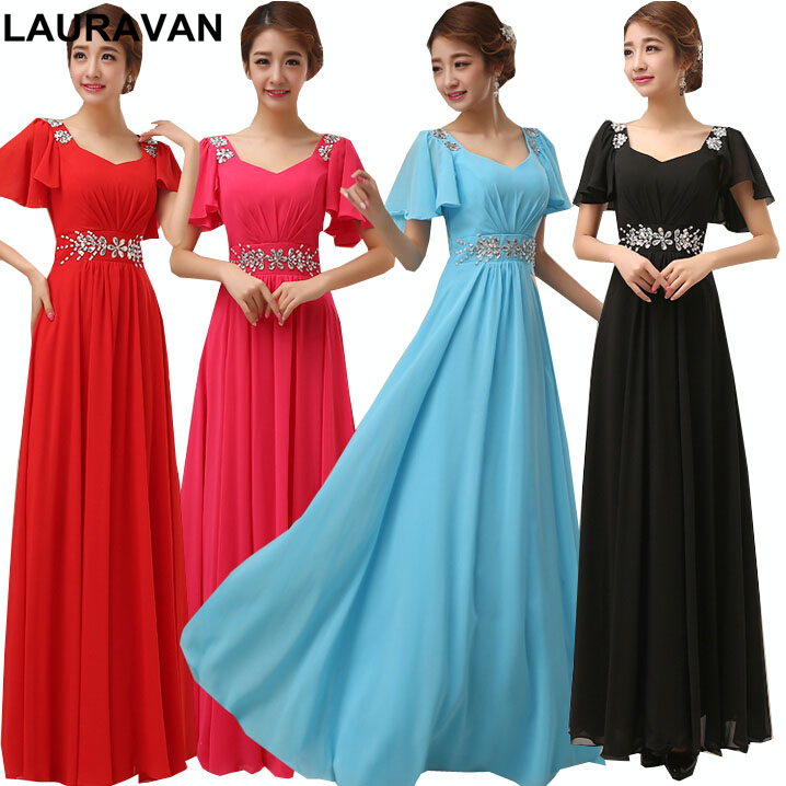 light blue v neck womens chiffon women long black formal cap sleeve bridemaid dress red bridesmaid dresses free shipping
