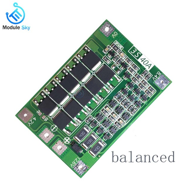 3S 40A BMS Lithium Battery Protection Board Enhanced Balance version 18650 Li-ion battery charger Circuit board 11.1V 12.6V 3