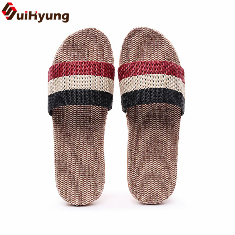 Suihyung Summer Flax Slippers Plus Size 35-45 Women Indoor Shoes Flip Flops Lovers Casual Linen Slides Man Breathable Sandals