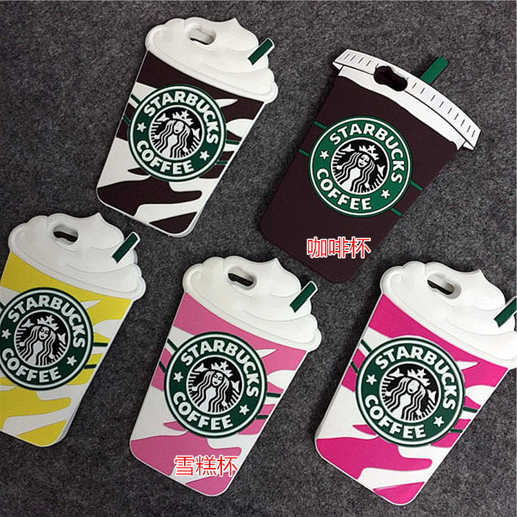 Starbucks Taza de Café de la Historieta 3D Silicio Cajas Del Teléfono Para el ip