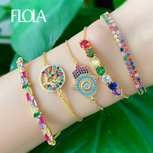 FLOLA Fatima Hand Bracelet For Women Tree of Life Rainbow Tennis Yellow Gold Jewelry pulseras mujer moda brtb57