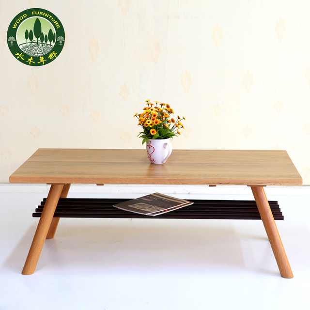 Mizuki Japanese Style Coffee Table In Birch Wood American White Oak Living  Room Furniture Long Coffee Table With Storage Grid