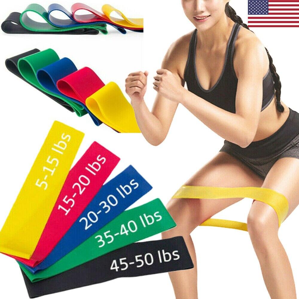 Set Of 5 Resistance Yoga Resistance Rubber Bands Indoor Outdoor Fitness Equipment Pilates Sport Training Workout Elastic Bands