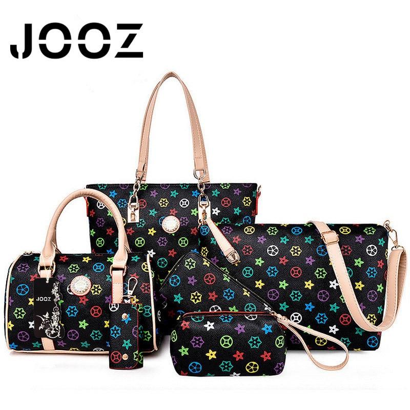 ФОТО Jooz Brand Luxury printing female bag Lady Leather 6 Pcs bags Set Women Shoulder Crossbody Bags Handbag Purse Clutch