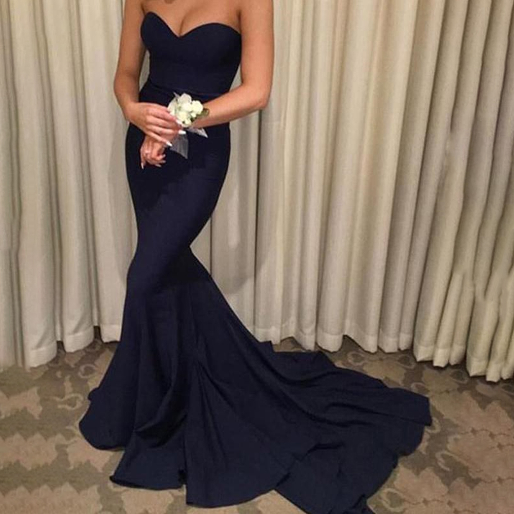 Sweetheart Navy Trumpet Mermaid   Prom     Dresses   Sleeveless Long Evening Gowns Custom Plus Size Formal Occasion Party   Dresses