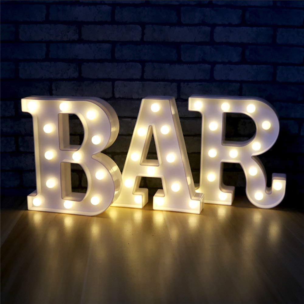 26 Alphabet LED Letter Lights Home Decoration Warm White Lights Marquee Letters Sign For Wedding Birthday Party Battery Powered