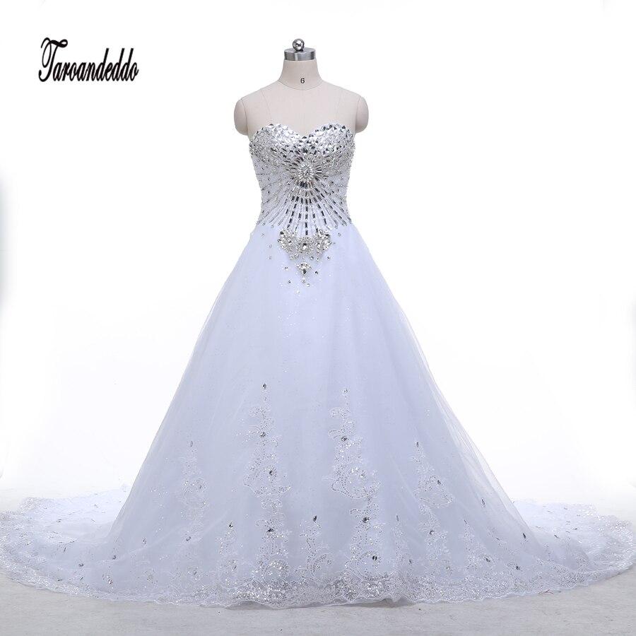 Décolleté en coeur Strass Perles Corsage Bling Bling Robes De Bal Train Royal Robes De Mariée Robes De Mariée