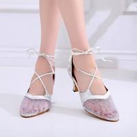 Discount Black Silver Golden Shoes Women Breathable Lace FrontLatin Dance Sandals Shoes for Dance