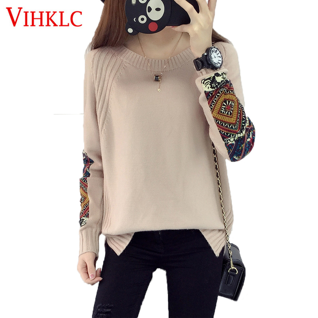 a60ef2d4418 New Spring Autumn Winter 2017 Sweater Korean version Women Knitted  Pullovers High collar Loose Solid color Sweater L169