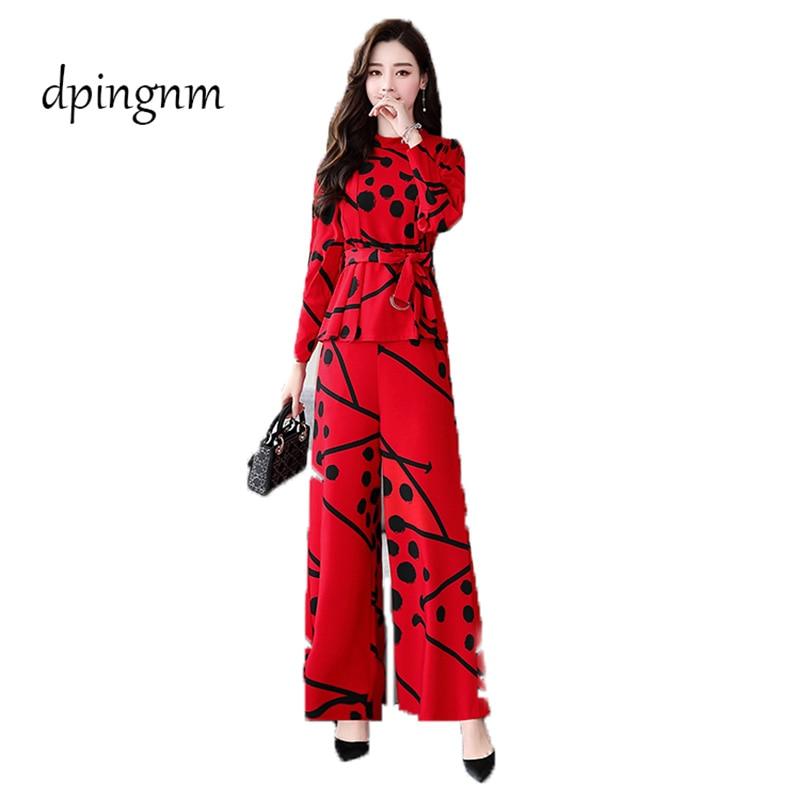 Femmes décontracté és rouge O cou trois quarts Blouse hauts + noir taille élastique Long pantalon costume