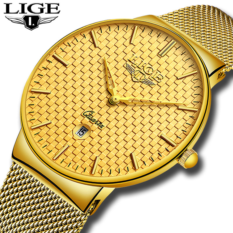 Relogio Masculino LIGE Fashion Mens Watches Top Brand Luxury Ultra Thin Quartz Watch Men Steel Mesh Strap Waterproof Gold Watch