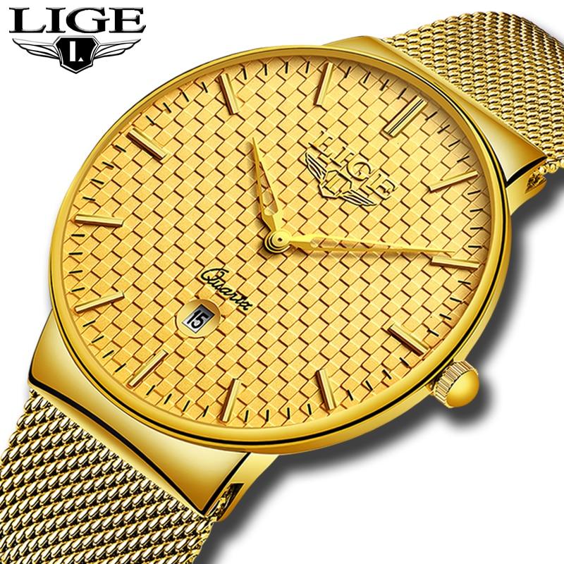 Relogio Masculino LIGE Fashion Mens Watches Top Brand Luxury Ultra Thin Quartz Watch Men Steel Mesh Strap Waterproof Gold Watch