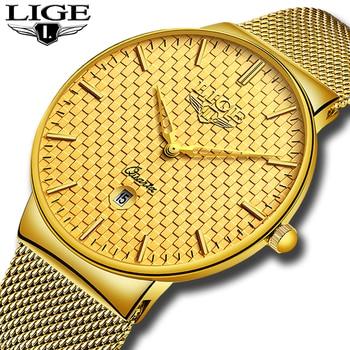 Relogio Masculino LIGE Fashion Mens Watches Top Brand Luxury Ultra Thin Quartz Watch Men Steel Mesh Strap Waterproof Gold - discount item  90% OFF Men's Watches