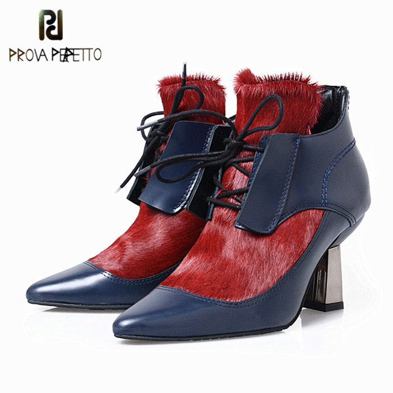 Prova Perfetto 2018 New Design Pointed Toe Horse Fur Decoration Ankle Boots Lace Up Patent Leather Patchwork Woman Boots