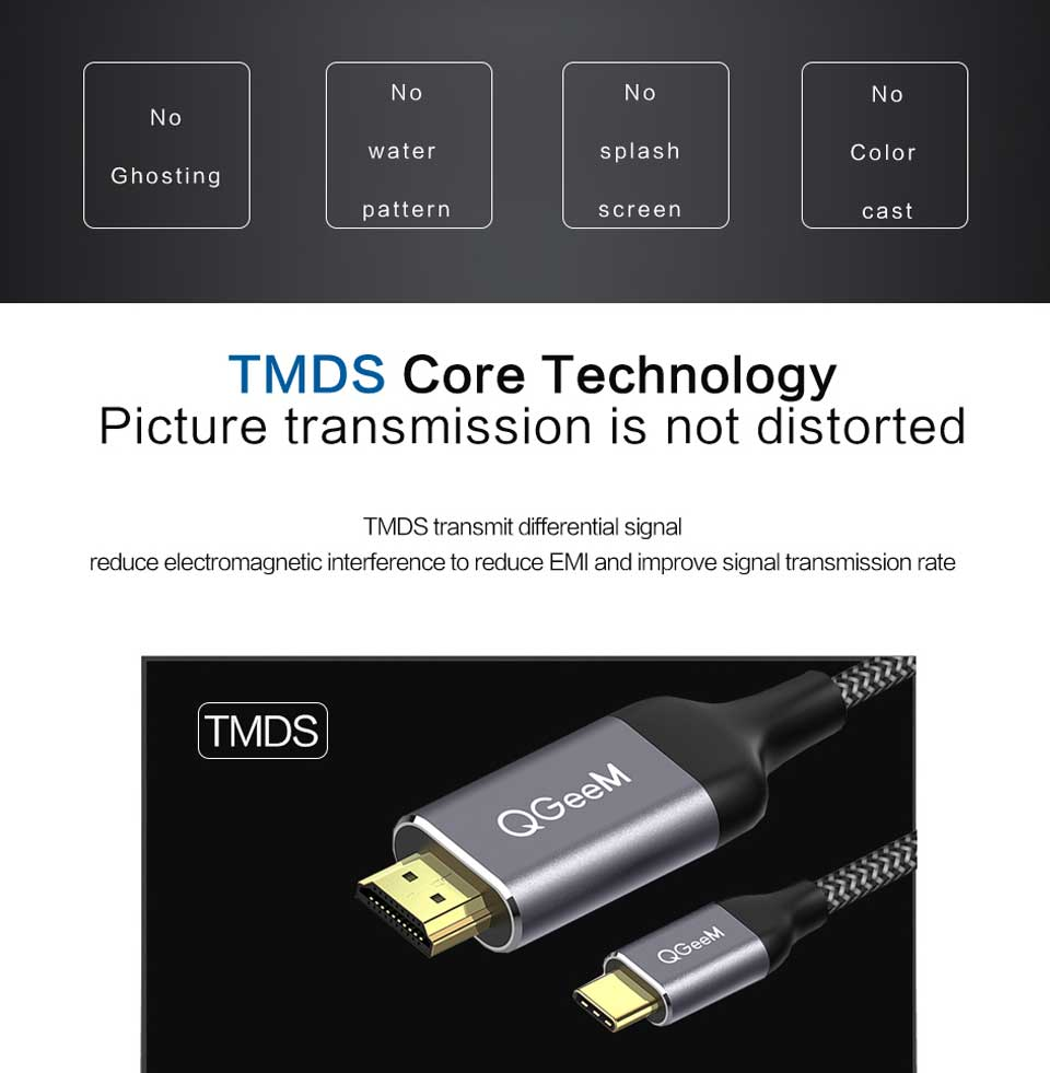 HTB1OW8MV6DpK1RjSZFrq6y78VXa7 QGeeM USB C to HDMI 4K Cable adapter Type C HDMI Thunderbolt 3 for huawei mate 20 macBook pro 2018  pro galaxy S9 HDMI USB-C