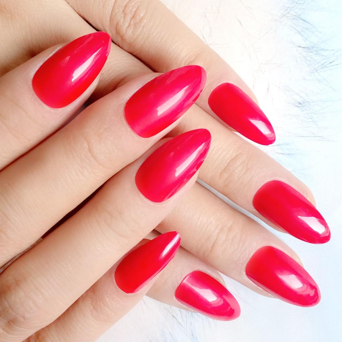 Candy Red False Nails Fashion Pointed Acrylic Fake Nails Short ...