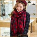 2016 новый новинка красный плед шарф мода леди дизайн новые шарфы