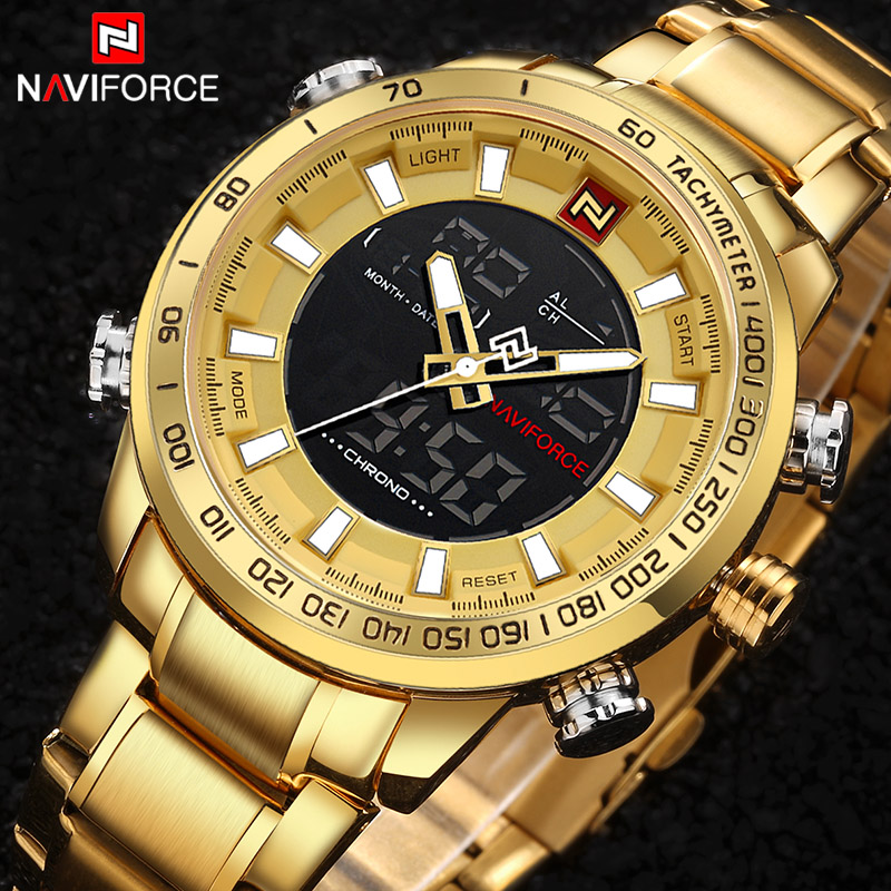 цена NAVIFORCE Luxury Brand Mens Gold Quartz Watch Mens Army Military Sport Watches Male LED Digital Analog Clock Relogio Masculino