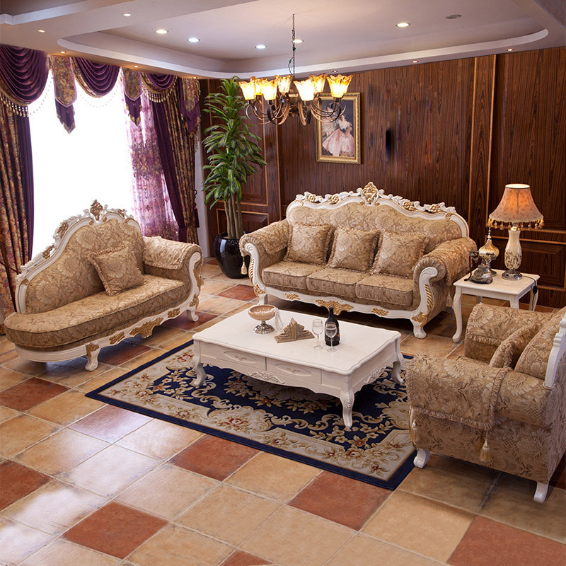 American antique carved wood sofa combination of size - What size couch for my living room ...