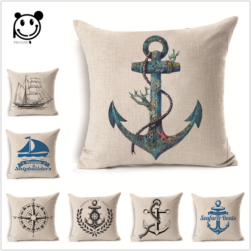 Decorative Navy Anchor Bedding Cushion Cover Nordic Linen Shell Square Houseware car-covers Printing Pillow Cover 45x45Cm