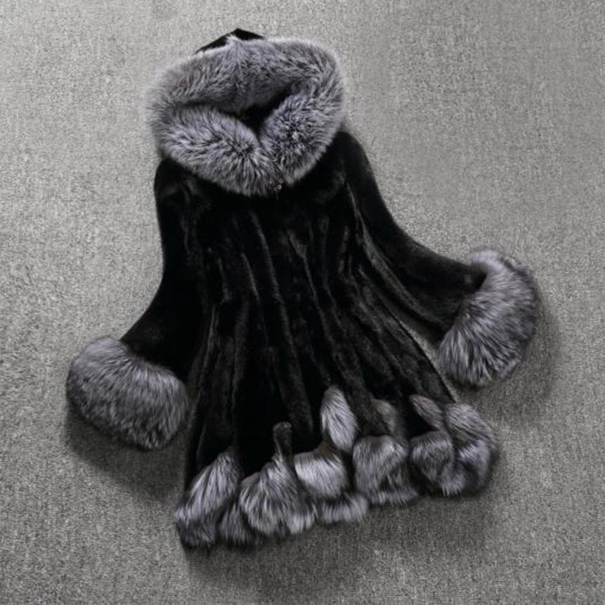 Winterwomen Outwear Manga Abrigo De Fox Blanco negro 2017 Capa Mujeres Pieles Larga Animales Sep19 XnZqWEH