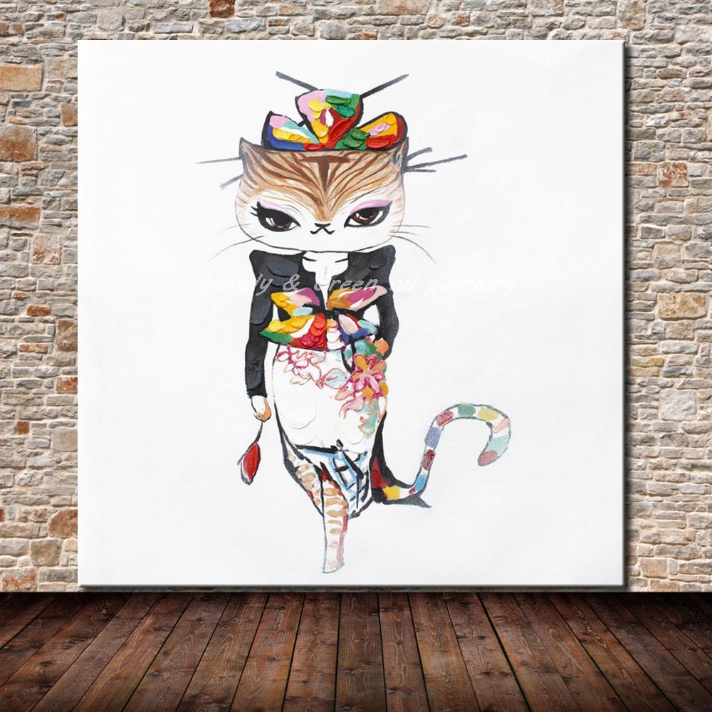 6397582712a4b Pintados À mão Da Faca de Paleta Rainha Gato Animal Pintura A Óleo Sobre  Tela Abstrato Moderno Pinturas de Parede Para Sala de estar Decoração Do  Hotel
